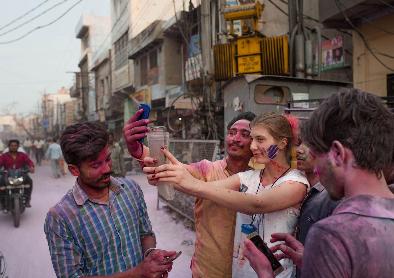 Selfie w czasie Holi w Indiach